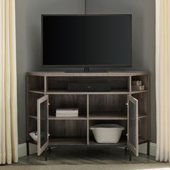 "48"" Industrial Mesh Door Corner TV Console - Grey Wash"
