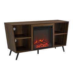 "52"" Crosby Angled Side Fireplace TV Console - Dark Walnut"