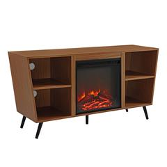 """52"""" Crosby Angled Side Fireplace TV Console - Pecan"""