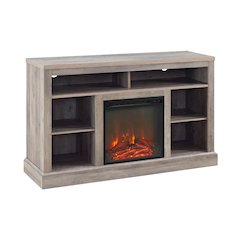 "52"" Fireplace Tall TV Console with Open Storage - Grey Wash"