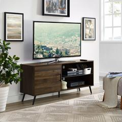 """52"""" Mid-Century TV Stand with Glass Shelf - Dark Walnut"""