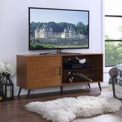 """52"""" Mid-Century TV Stand with Glass Shelf - Pecan"""