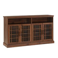"58"" Classic Glass Door TV Console - Dark Walnut"