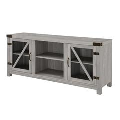 "58"" Glass Barn Door Console - Stone Grey"