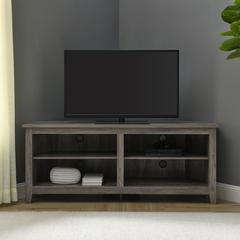 "58"" Transitional Wood Corner TV Stand - Grey Wash"