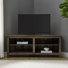 "58"" Transitional Wood Corner TV Stand - Reclaimed Barnwood"