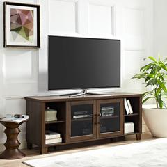"""58"""" Columbus TV Stand with Middle Doors - Dark Walnut"""
