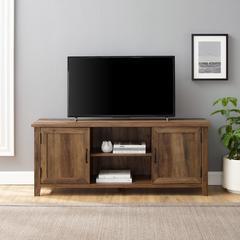 "58"" Modern Farmhouse TV Stand with Beadboard Doors - Rustic Oak"