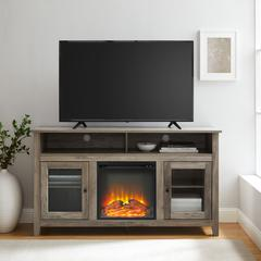 "58"" Transitional Fireplace Glass Wood TV Stand - Grey Wash"