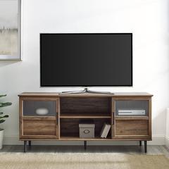 """58"""" Glass & Wood Split Panel Door TV Console - Reclaimed Barnwood"""
