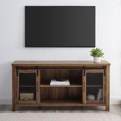 "58"" Sliding Mesh Door Console - Rustic Oak"