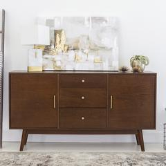 "60"" Mid-Century Modern Wood TV Console - Walnut"
