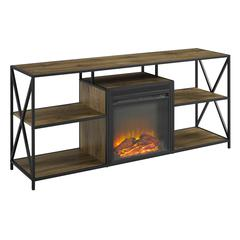 """60"""" Rustic Electric Fireplace X-Frame TV Stand - Barnwood"""