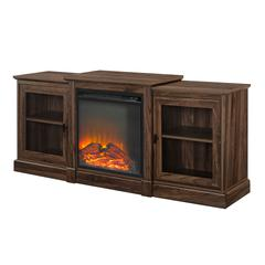 "60"" Classic Tiered Top Fireplace TV Console - Dark Walnut"