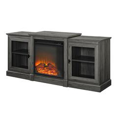 """60"""" Classic Tiered Top Fireplace TV Console - Slate Grey"""
