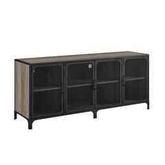 "60"" Urban Industrial TV Stand Storage Console with Metal Mesh Doors - Grey Wash"