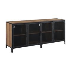 "60"" Urban Industrial TV Stand Storage Console with Metal Mesh Doors - Rustic Oak"