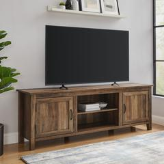 "70"" Modern Farmhouse Console with Beadboard Doors - Rustic Oak"