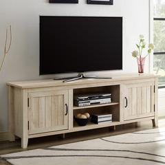 "70"" Modern Farmhouse Console with Beadboard Doors - White Oak"