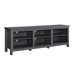 "70"" Wood Media TV Stand Storage Console - Charcoal"