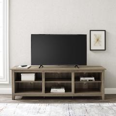 "70"" Wood Media TV Stand Storage Console - Grey Wash"