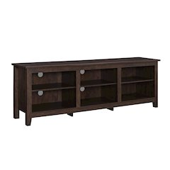 """70"""" Wood Media TV Stand Storage Console - Traditional Brown"""