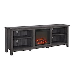 "70"" Wood Media TV Stand Console with Fireplace - Charcoal"