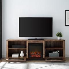 "70"" Rustic Farmhouse Fireplace TV Stand - Reclaimed Barnwood"