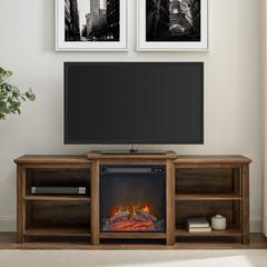 "70"" Tiered Top Open Shelf Fireplace TV Console - Reclaimed Barnwood"