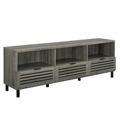 """70"""" Wood TV Stand with Slatted Drawers - Slate Grey"""