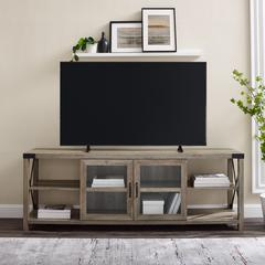 "70"" Farmhouse Metal X TV Stand - Grey Wash"