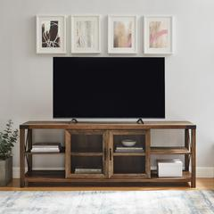"70"" Farmhouse Metal X TV Stand - Reclaimed Barnwood"