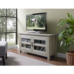 "44"" Wood TV Media Stand Storage Console - White Oak"