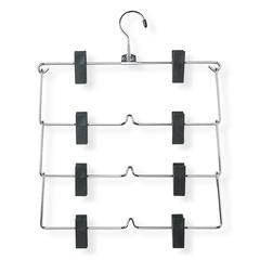 4-Tier Fold Up Skirt Hanger, 2-Pack, Chrome / Black