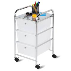 3 Drawer Rolling Cart, Chrome Clear