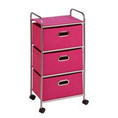 Honey Can Do 3 Drawer Rolling Cart Pink, Chrome / Pink
