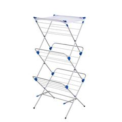3-Tier Mesh Top Drying Rack 43 Linear Feet, Silver/Blue