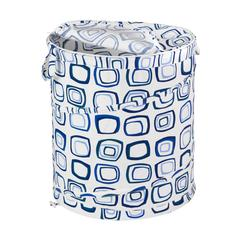 Honey Can Do Large Patterned Pop Open Hamper, Blue Squares