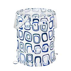 Medium Patterned Pop Open Hamper, Blue Squares, White / Blue Print