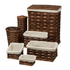 Honey Can Do 7 Piece Wicker Hamper Kit, Brown/Cherry Wicker