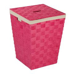 Woven Hamper With Liner, Pink
