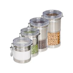 4-Pack Stainless & Acrylic Canisters