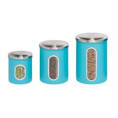 3Pk Metal Storage Canisters, Blue, Hcd Blue, Clear Plastic Window, Stainless Top