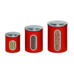 3Pk Metal Storage Canisters, Red