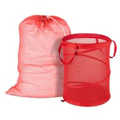 Honey Can Do Red Mesh Laundry Bag & Hamper Kit