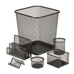6Pc Steel Mesh Desk Set, Powder Coated Steel Mesh