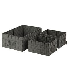Honey Can Do 3Pc Set Woven Baskets, Salt&Pepper, Black/White