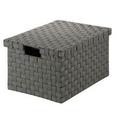 Large Woven File Box, Salt&Pepper, Black/White