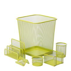 Honey Can Do 6Pc Steel Mesh, LimeDesk Set