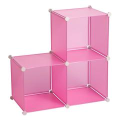 Honey Can Do 3-Pack Storage Cubes- Pink, Translucent Pink